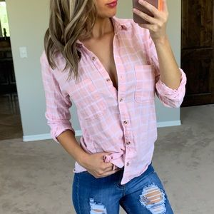 Abercrombie & Fitch Pink & White Plaid Button Up